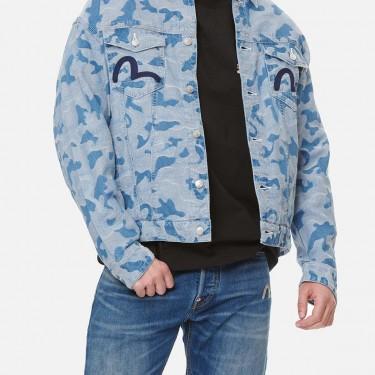 Blouson en jean jacquard camouflage Evisu Allover