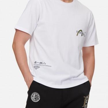 T-shirt Evisu Brush Effect Logo et Hannya Skull Print