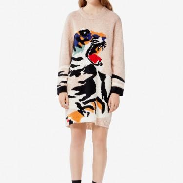 Kenzo Femme Robe pull 'Tiger Head' camel clair