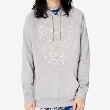 Kenzo Femme Sweatshirt à capuche Tigre 'Capsule Expedition' gris perle