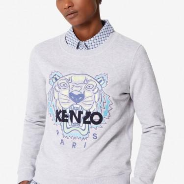 Kenzo Femme Sweatshirt Tigre gris perle