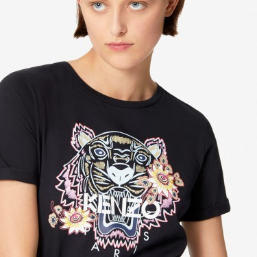 Kenzo Femme T-shirt Tigre 'Passion Flower' noir